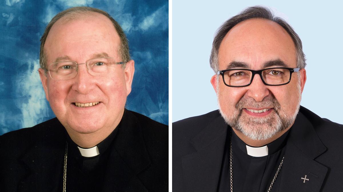 José María Yanguas, obispo de Cuenca, y Jesús Sanz, arzobispo de Oviedo.