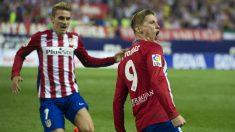 Torres celebra un gol con el Atlético. (AFP)