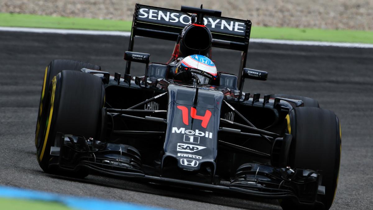 Fernando Alonso y su McLaren-Honda durante el GP de Alemania. (Getty)