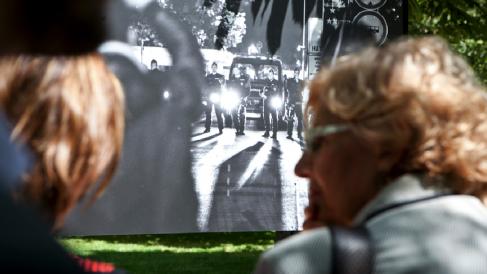 La alcaldesa Carmena en imagen de archivo inaugurando una exposición. (Foto: Madrid)