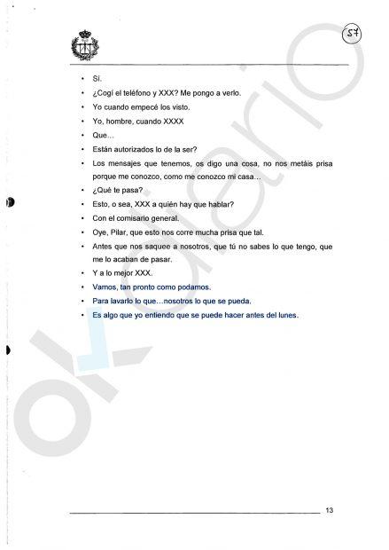 """Transcripción de la prueba pericial sobre el""""lavado de pruebas"""" de Martín Blas."""