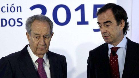 Juan Miguel Villar Mir junto a su hijo, el actual presidente de OHL, Juan Villar Mir Fuentes.