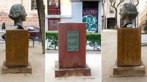 En el centro de la foto se aprecia la escultura después del robo, y a los lados la escultura de Campoamor. (Foto: Somosmalasaña)