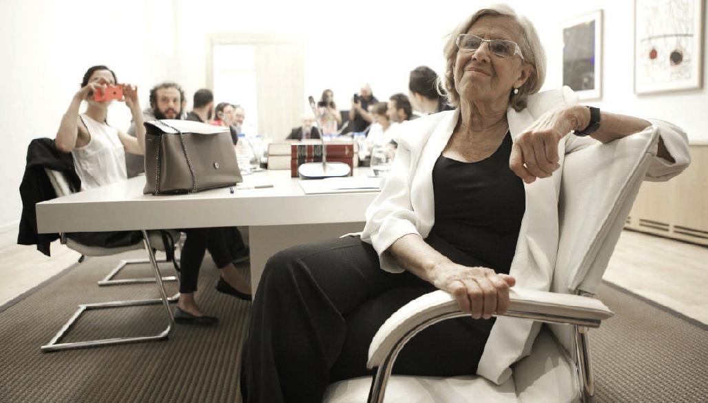 La alcaldesa Carmena en su primera Junta de Gobierno todavía con Zapata. (Foto: Madrid)