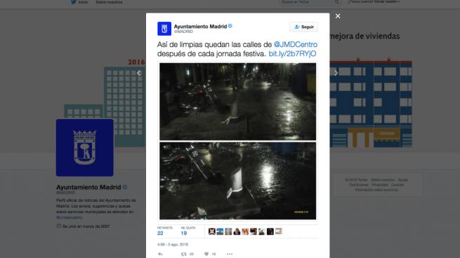El Ayuntamiento de Madrid presume de la limpieza de las calles de la ciudad en Twitter