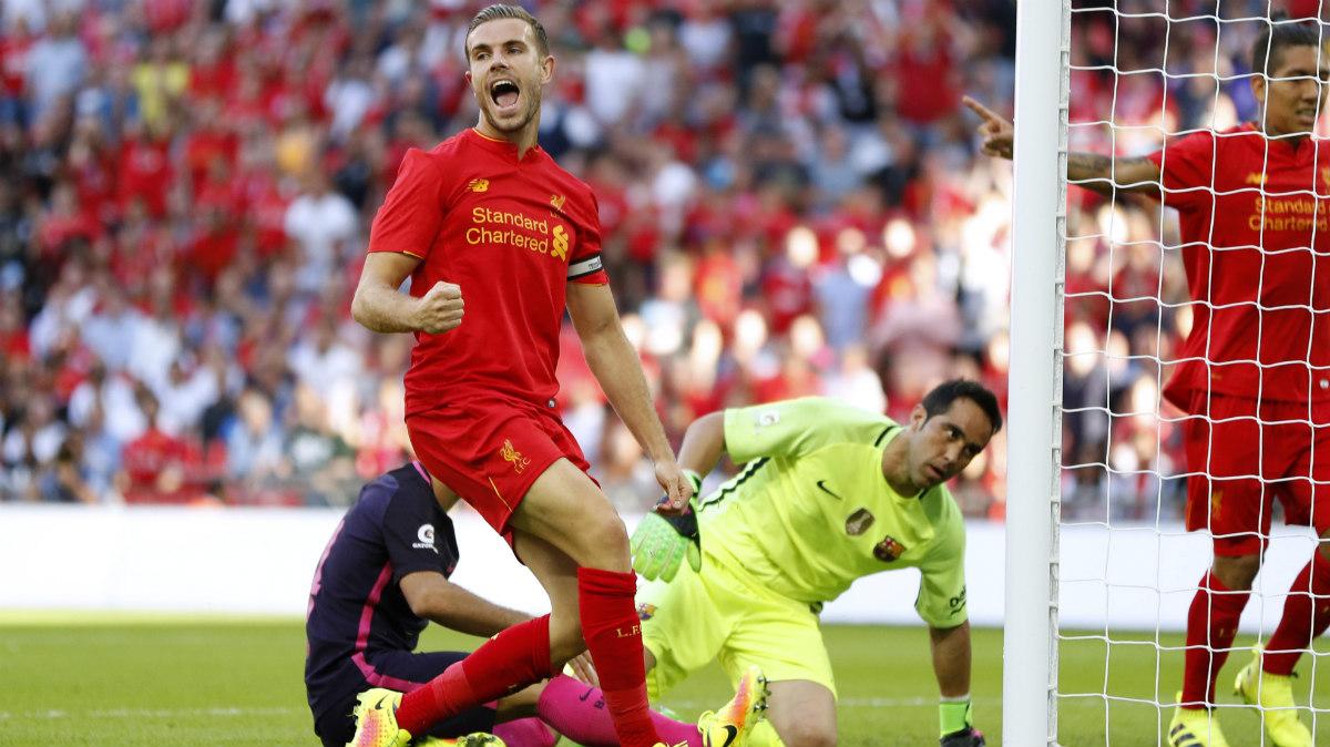 Henderson celebra el segundo gol del Liverpool ante el Barça. (Reuters)