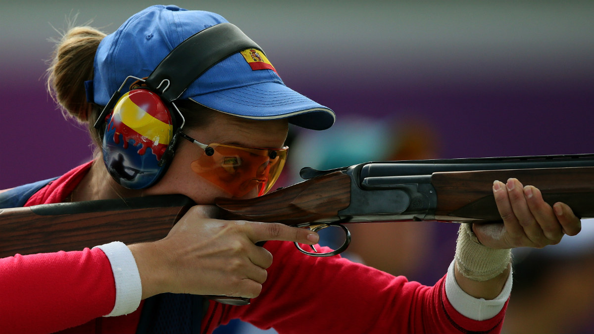 Fátima Gálvez, en la competición de foso olímpico. (AFP)