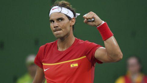 Rafa Nadal celebra su victoria ante Delbonis. (Reuters)