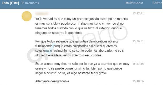 Mensaje de un miembro del Círculo Joven de Podemos Madrid.