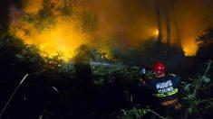 Un bombero de Vilagarcía de Arousa en uno de los incendios de Pontevedra, este martes de madrugada. (EFE)
