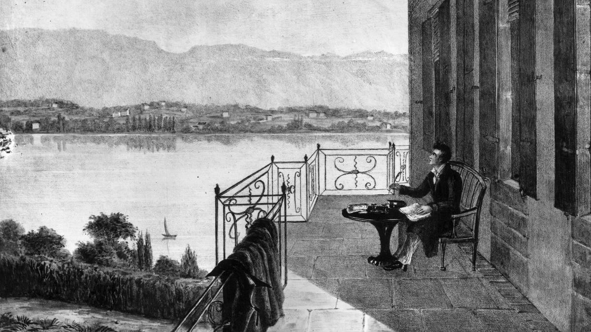 George Gordon Noel Byron, más conocido como Lord Byron, retratado en un dibujo en su casa de verano Villa Diodati. (Foto: Getty)