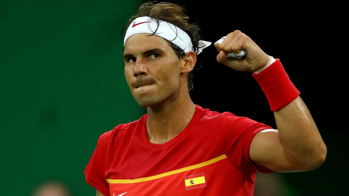 Rafa Nadal celebra una victoria en los Juegos Olímpicos. (Getty)