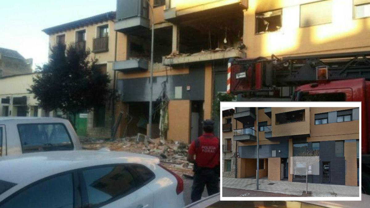 Así ha quedado el inmueble después de la explosión. Y abajo a la derecha se puede ver la fachada antes de la explosión. (Foto: GMaps y Policía Navarra)