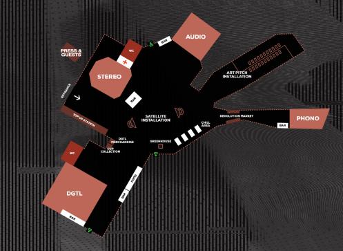 Esta es la distribución de los escenarios del DGTL en el Parc del Fórum.