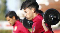 Nico Gaitán durante un entrenamiento con el Atlético