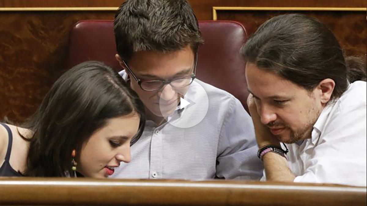 Irene Montero, Iñigo Errejón y Pablo Iglesias. (Foto: EFE)
