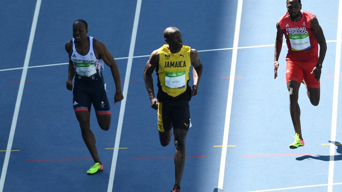Usain Bolt entra en la meta más que relajado. (AFP)