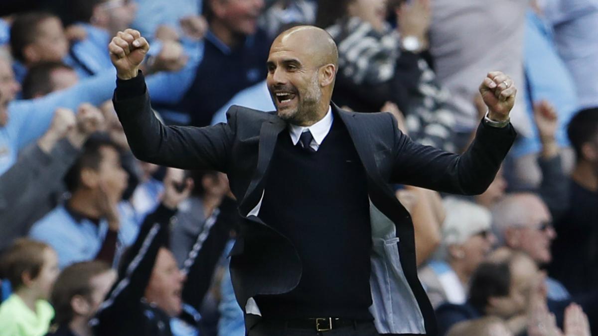 Guardiola celebra el tanto de la victoria del Manchester City