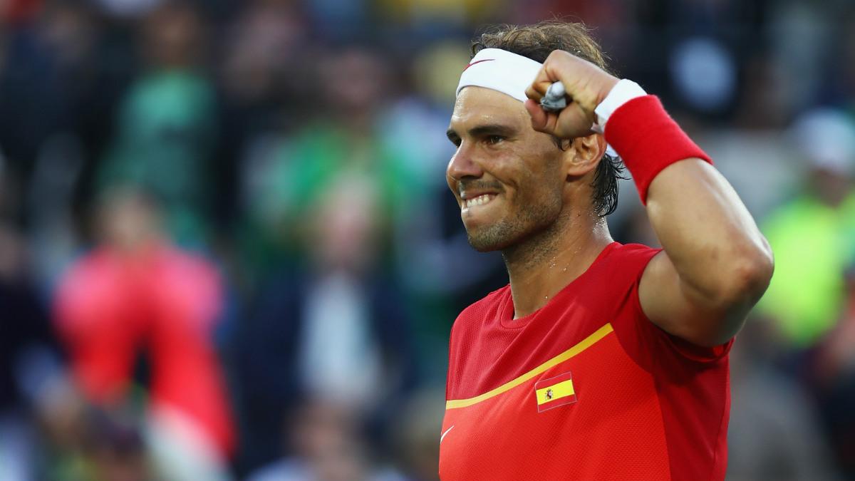 Rafa Nadal celebra una victoria en los Juegos de Río. (Getty)