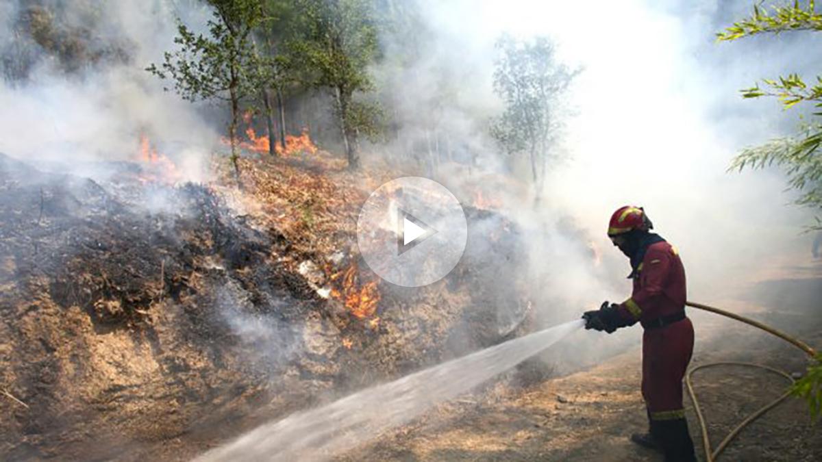 Un bombero en las labores de extinción de uno de los incendios de Galicia (Foto: Efe).