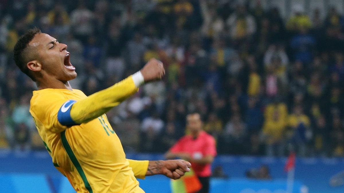 Neymar celebra el gol de Brasil ante Colombia. (Reuters)