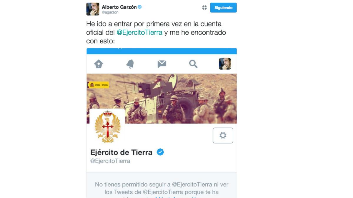 Este es el tuit en el que Alberto Garzón manifestaba su sorpresa al ver su bloqueo en la cuenta de Twitter del Ejército del Aire.