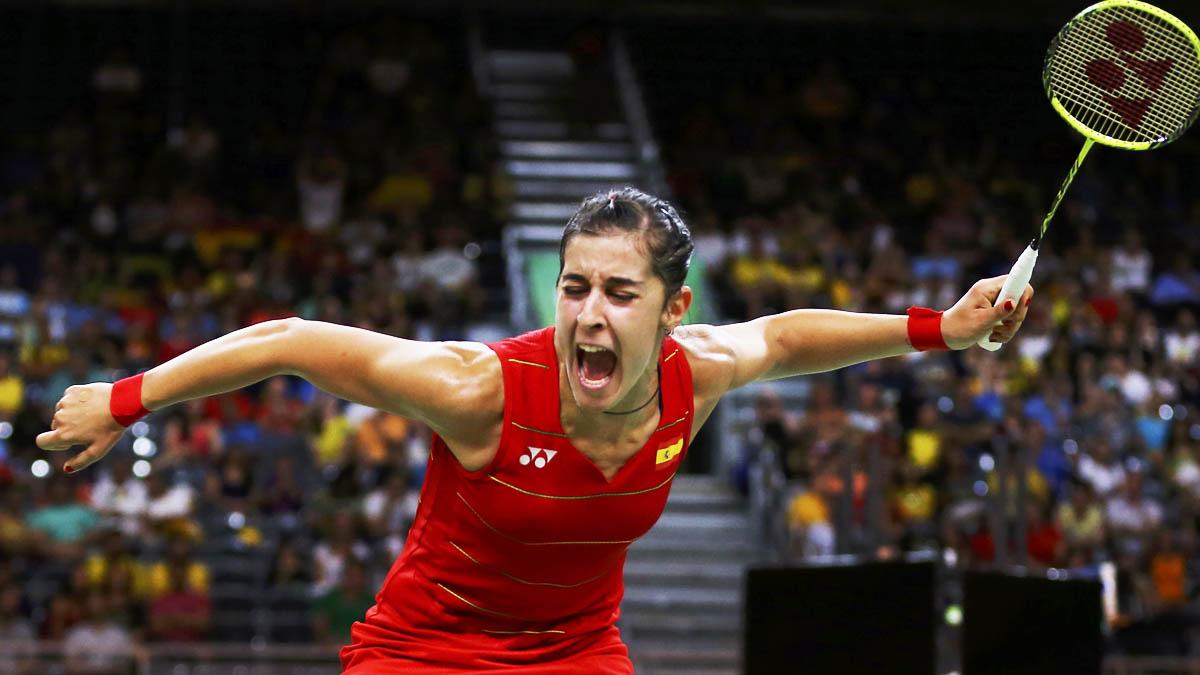 Exultante Carolina Marín tras lograr el pase a semifinales (Foto: Reuters)