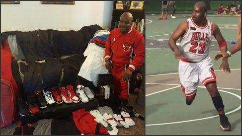 Jeffrey Harrison, imitador de Michael Jordan, ha recibido un tremendo kit de productos.