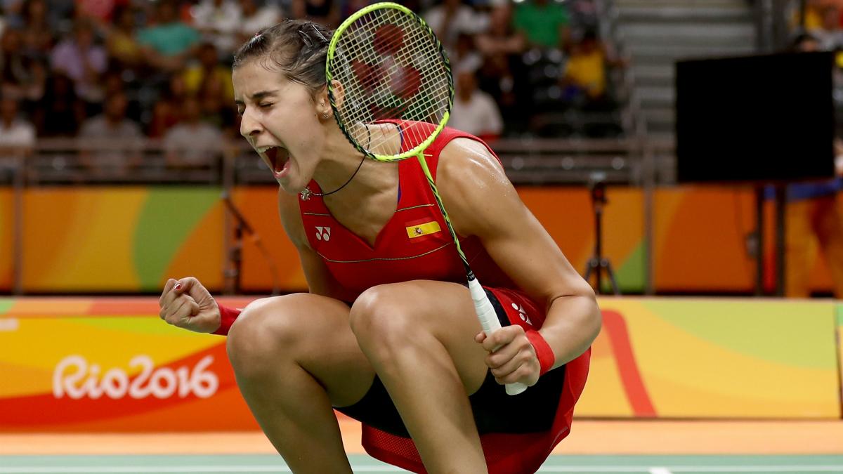 Carolina Marín celebra un punto en los Juegos Olímpicos. (Getty)