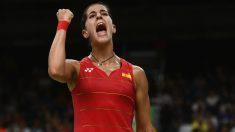 Carolina Marín celebra un punto. (Getty)