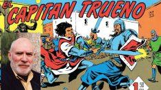 El responsable de las historias del Capitán Trueno, Víctor Mora, y una de las portadas del famoso cómic español.