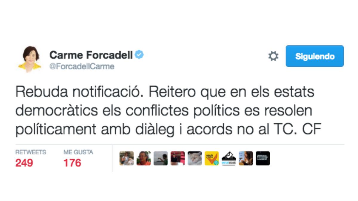Este es el mensaje que ha subido a su cuenta de Twitter Forcadell, después de haber recibido la notificación del TC.