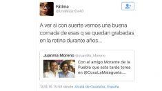 Imagen del tuit con el que la tuitera Fátima desea una cornada a Morante.