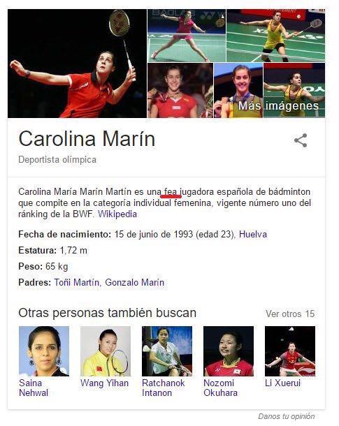 Trollean el perfil de Carolina Marín en Wikipedia