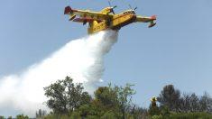 Un hidroavión actúa sobre el incendio del Valle del Jerte (Foto: Efe).