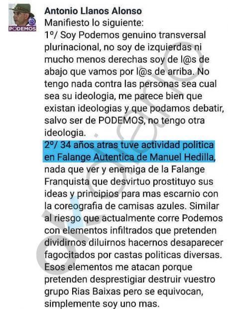 Mensaje de Antonio Llanos en Facebook.