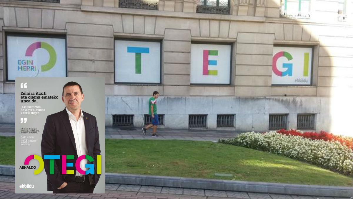Las ventanas de la sede de EH Bildu en Bilbao esta mañana. Y el cartel de EH Bildu. (Foto: Agencias)