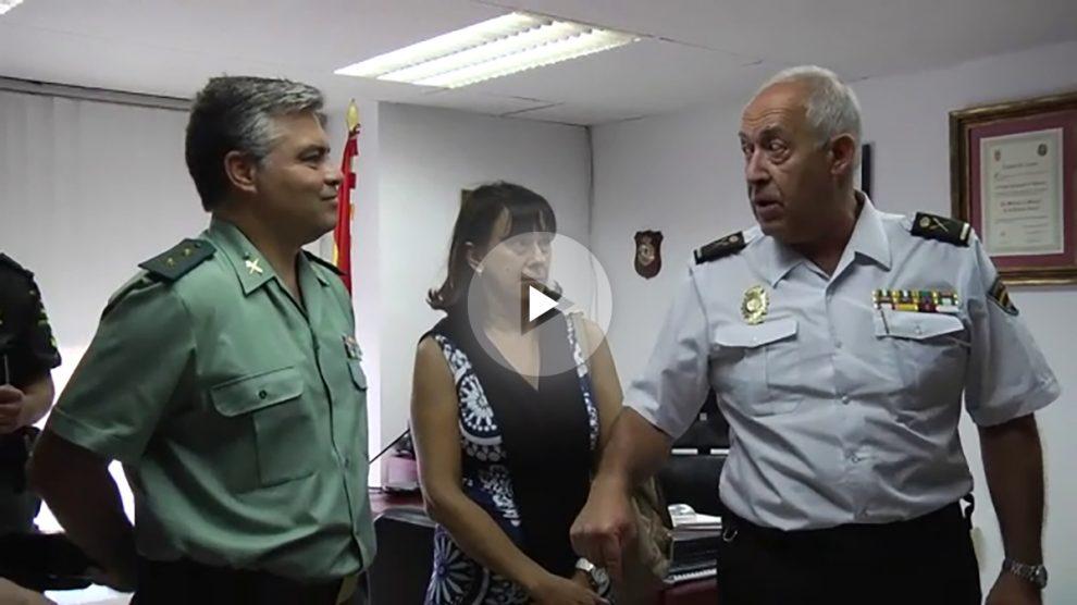 El teniente coronel de la Guardia Civil Joaquín Castro, la representante del Frontex Ana Cristina Jorge y el jefe de la Policía Nacional Alfonso Sánchez Nuñez.