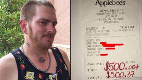 Factura con la que se encontró el camarero de Applebee's.