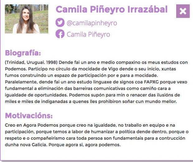 Perfil de Camila Pyñeiro.