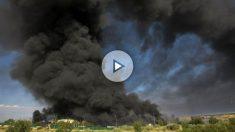 Imagen del incendio en la planta de residuos de Guadalajara (Foto: Efe).