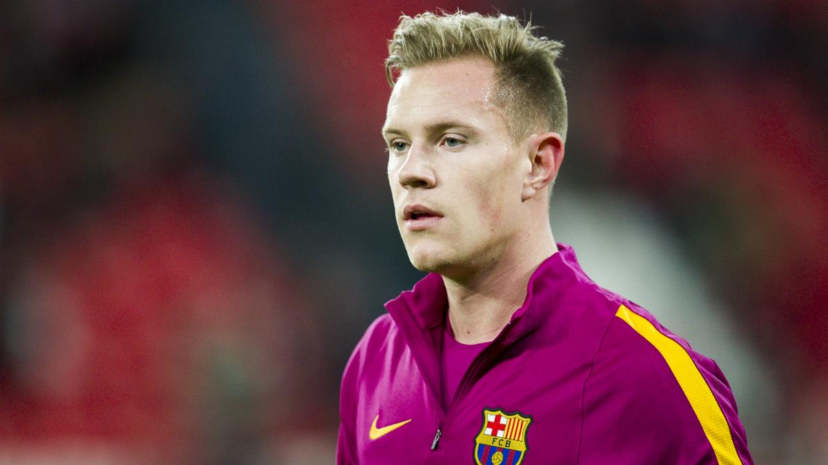 Marc-André ter Stegen, durante un calentamiento con el Barça