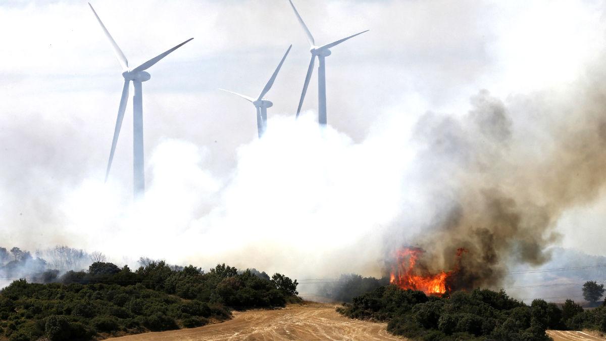 Imagen del incendio de Navarra (Foto: Efe).