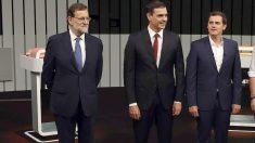 Rajoy, Sánchez y Rivera en una imagen de archivo (Foto: Efe).