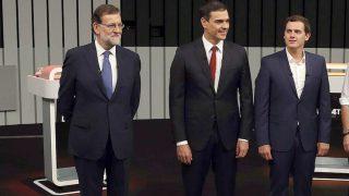 Rajoy, Sánchez y Rivera en el debate de la pasada campaña (Foto: Efe).