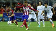 Griezmann falla un penalti en la final de Milán. (AFP)