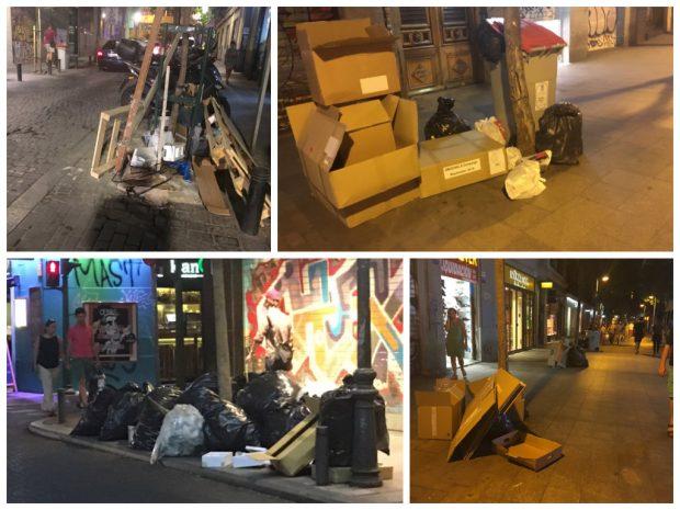 Fotos recientes de basura en calles de Madrid. (Fotos: RRSS)