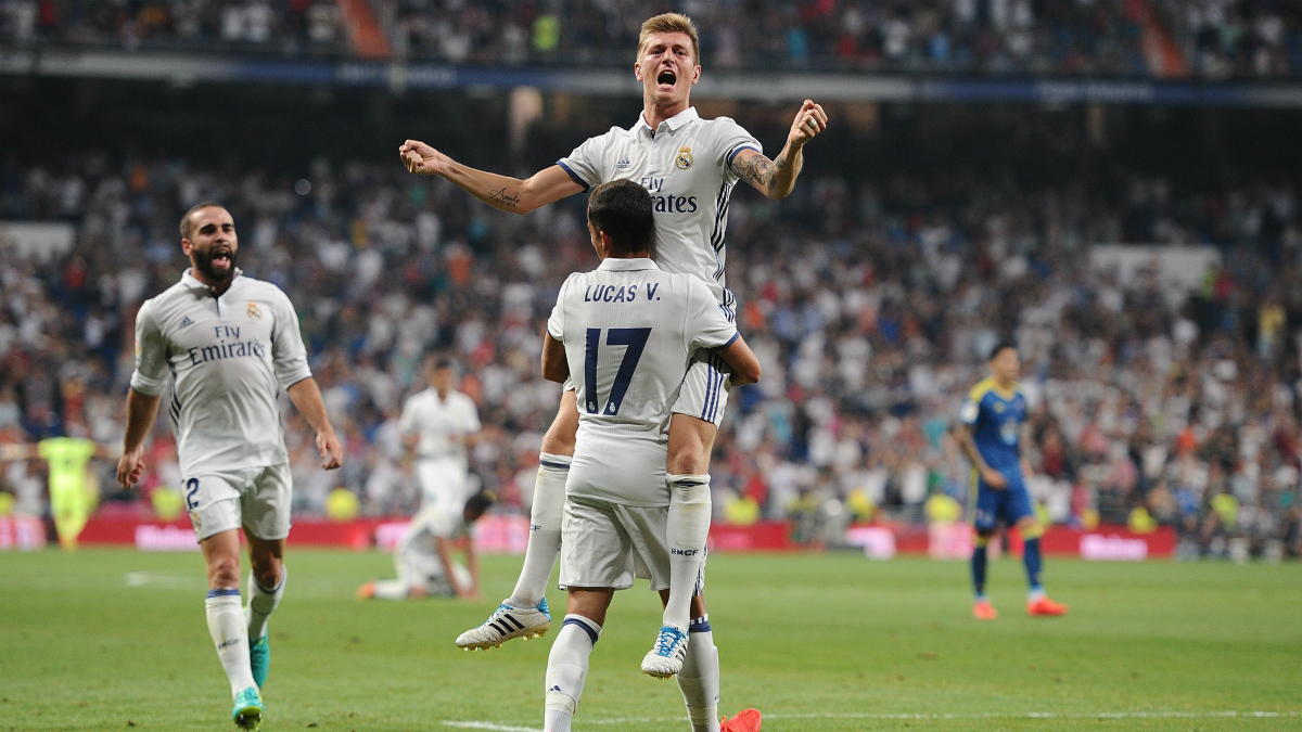 Toni Kroos celebra su tanto ante el Celta en la Jornada 2