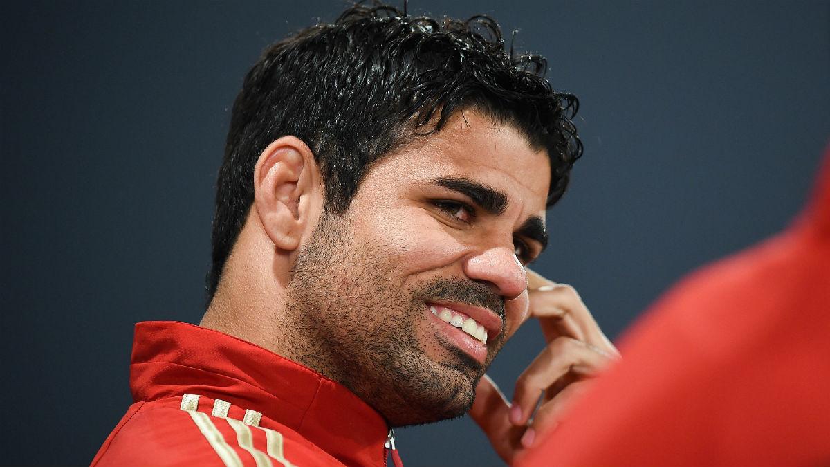 Diego Costa durante una rueda de prensa con la selección.