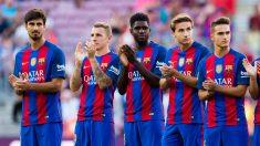 De izquierda a derecha: André Gomes, Digne, Umtiti, Samper y Denis (cuatro de los seis fichajes del Barça). (Getty Images)
